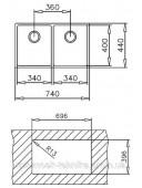 Кухонная мойка Тека BE LINEA R15 2B 740 10125166