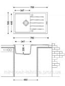 Гранитная кухонная мойка Fabiano Classic 78x50 Alpine White