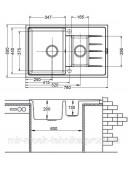 Гранитная кухонная мойка Fabiano Classic 78x50x15 Antracit