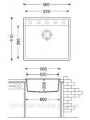Гранитная кухонная мойка Fabiano Quadro 56x51 Beton