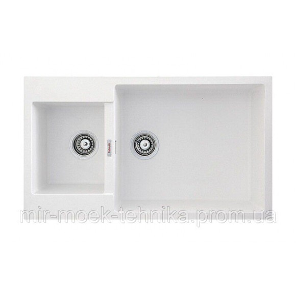 Гранитная кухонная мойка Fabiano Quadro 86x50x15 Alpine White