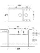 Гранитная кухонная мойка Fabiano Quadro 86x50x15 Cream