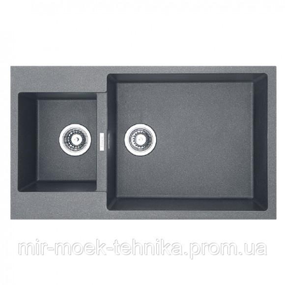 Гранитная кухонная мойка Fabiano Quadro 86x50x15 Titanium