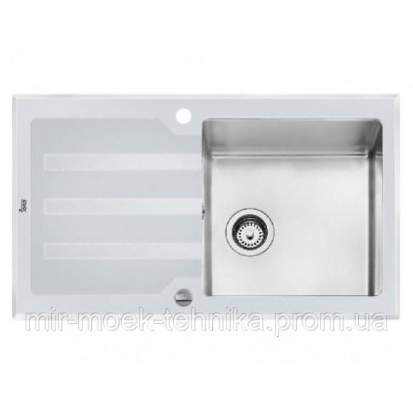 Кухонная мойка Teka Lux 1B 1D 86 REV 12129012 нержавеющая стальбелое стекло