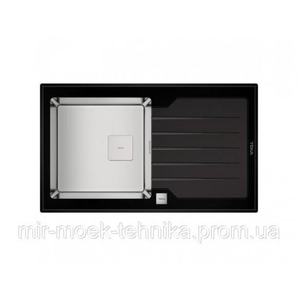 Кухонная мойка Teka Diamond 1B 1D 86 115100011 черное стекло